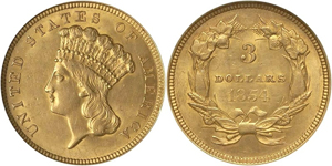 1854 $3 Indian Princess