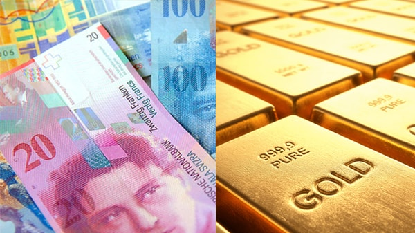 swiss francs with gold bars