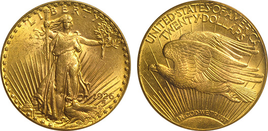 $20 Saint-Gaudens Gold Double Eagle, Numismatic Vlaue: MS-61