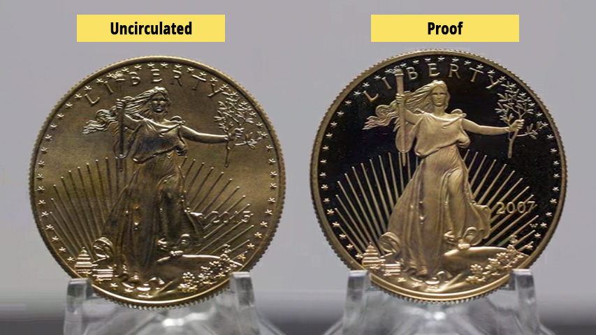 uncirculated vs proof coin